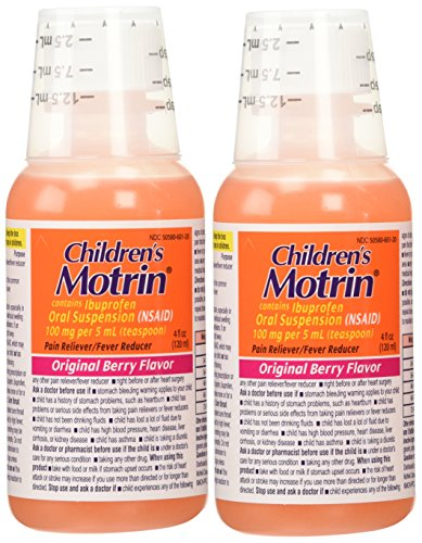 2 Combo Pack Children's Motrin Ibuprofen Pain Fever Reliever Original Berry Flavor of 4 - Childrens Motrin