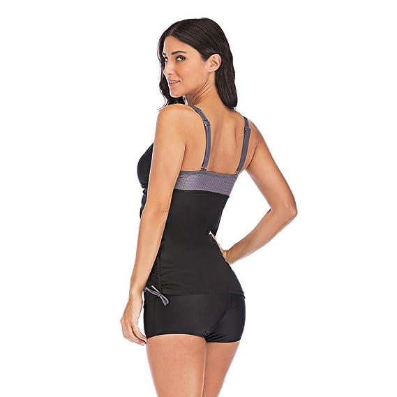 0ea61d8ded16e Toamen Women's Tankini Sets with Boy Shorts Swimsuit, Push-Up Padded Bra Swimsuit  Swimwear Beachwear, Bikini: Amazon.co.uk: Clothing