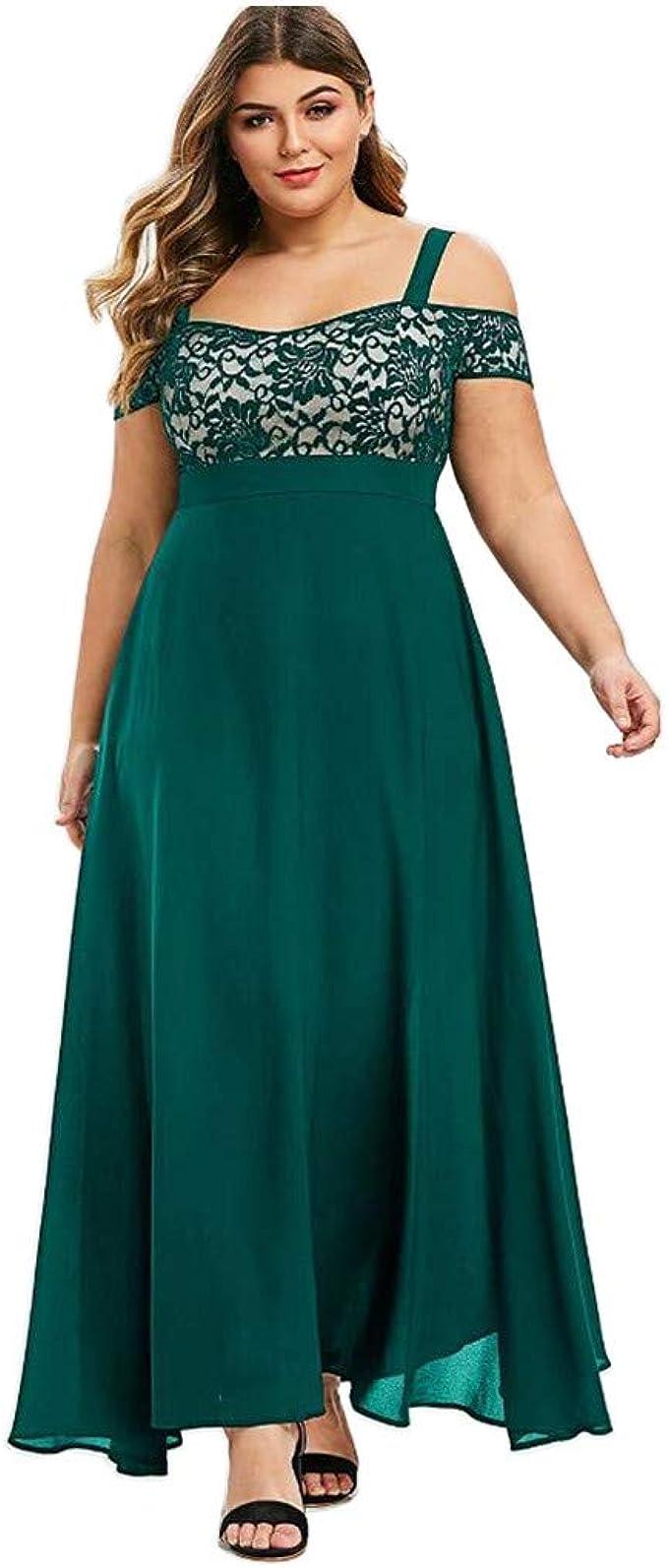 LOPILY Abendkleid Damen Große Größen Off Shoulder Spitzenkleid Bodenlang  Volant Maxikleid Schulterfrei Elegant Cocktailkleid Hoch Tailliert  Festkleid