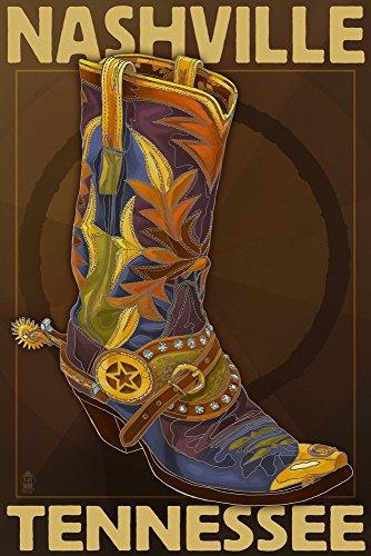 Nashville, Tennesseee - Boot (12x18 Art Print, Wall Decor Travel ()
