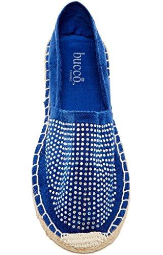 Bucco Naia Donna Moda Vegan Slip-on Espadrillas Appartamenti Blu Royal