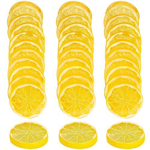 Lemon Slices - SUPLA 36 Pcs Artificial Lemon Slices Lime Slice Fake Fruits Slices Decorative Plastic Lemon Slices Lifelike Fruit Model 2