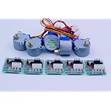 Coobl® 5sets Stepper Motor 28byj-48 5v Dc 4-phase 5-wire + Uln2003 Driver Board
