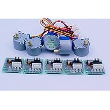 Coobl® 5sets Stepper Motor 28byj-48 5v Dc 4-phase 5-wire + Uln2003 Driver Board