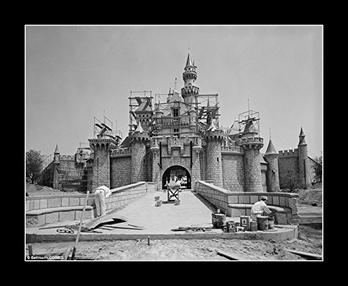 8 x 10 All Wood Framed Photo Disneyland Castle Under Construction