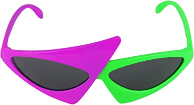 iEFiEL Asymmetric Triangle Sunglasses Alien Glasses Dress up Fashion Accessories for 80s Dance Parties Halloween Costume