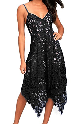 Neck Lace Midi Dresses for Women Party Wedding Cocktail Evening Large Black ()