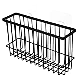 MeterMall Home Arts Large Capacity Iron Wire Basket Self-Adhesion Bin Storage Rack Mesh Organizer Bathroom Kitchen Black (Individual Packaging Kraft Paper Box)