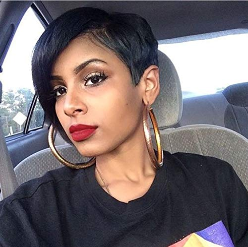 Search : RUISENNA 100% Human Hair Short Wig for Black Women African American Pixie Wigs Black Straight Hair Wig With Side Bangs