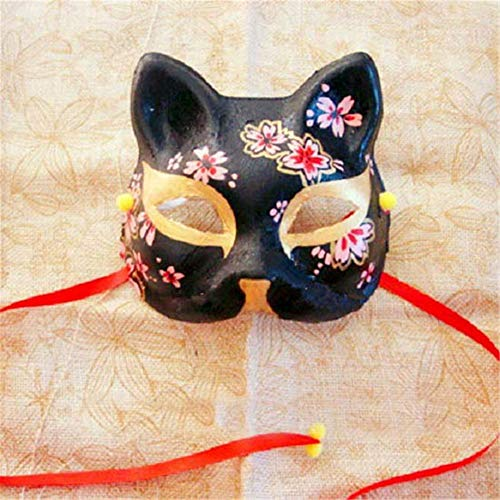Xiaolanwelc Upper Half Face Japanese Hand Painted Fox Masks Kitsune Cosplay Masquerade Black Whie Color Party Halloween Carnival (Black)