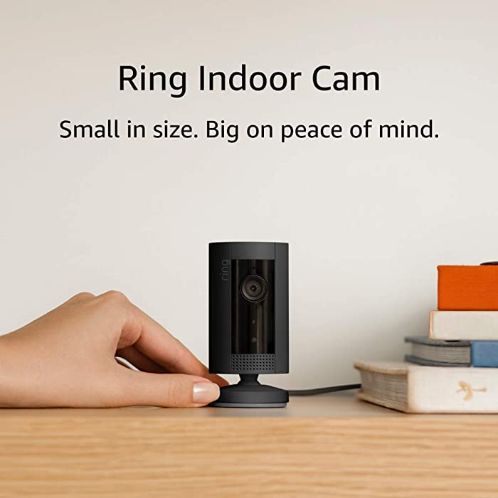 Ring Indoor Cam, Compact Plug-In HD security camera with custom privacy controls, Simple setup, Works with Alexa - Black