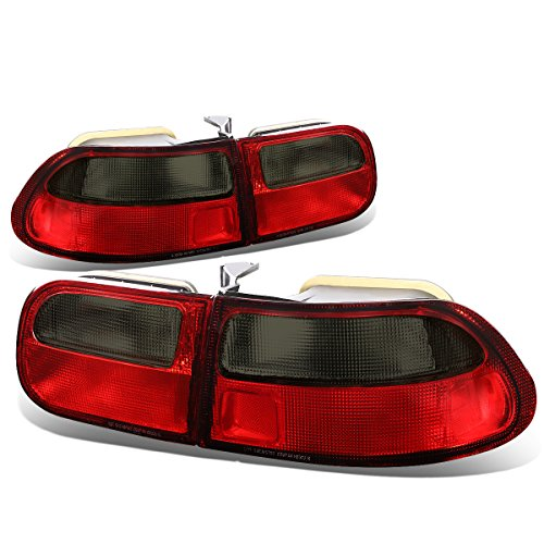 For Honda Civic Hatchback Pair of Smoked & Red Lens Rear Brake Tail ()