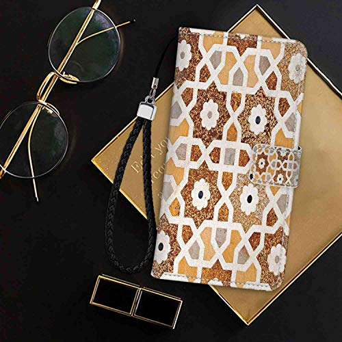 mophinda Wallet Case Fit for Apple iPhone 8 (2017) and iPhone 7 (2016) [4.7-Inch] Antique,Detail of Inlay and Geometric Carvings Asian Taj Mahal Tomb Architecture,Cream Orange Brown Trendy ()