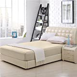 Elaine Karen 100% Cotton Fitted Bed Sheet - Twin Size - Cream