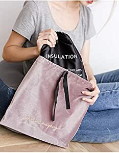 D/&H Home fashion velvet lunch bag tote bag Drawstring cinch-top closure with removable Insulation bag for ladies women Dark Green