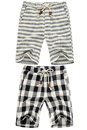 Linen Striped Drawstring Pants - 2