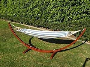 hammock stands amazon     new wooden curved arc hammock stand w  hammock      rh   amazon