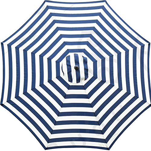 Sunnyglade 9ft Patio Umbrella Replacement Canopy Market Umbrella Top Outdoor Umbrella Canopy with 8 Ribs (Blue and White) (Umbrellas Top)