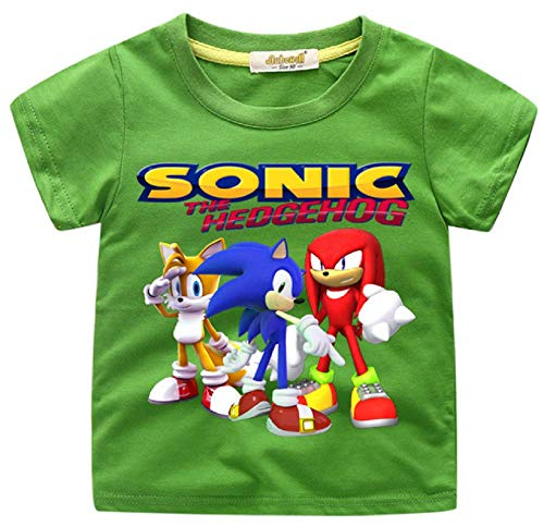 Indepence Life Boys' Sonic The Hedgehog T-Shirt - Featuring Sonic, Tails, and Knuckles Tee for 2-13Years Kids(Green, 6T) ()