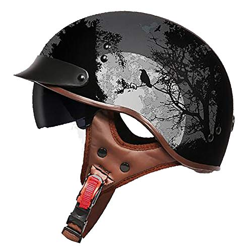 Summer Retro Half-Open Motorcycle Helmet, Men and Women Cruiser Defense Force Helmet DOT Certified Jet Helmet,M