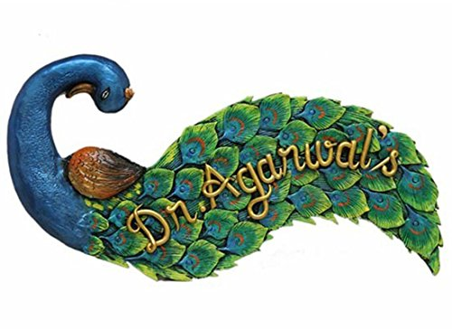 Craftedindia Ethnic Peacock Name Plate for Door by CraftedIndia