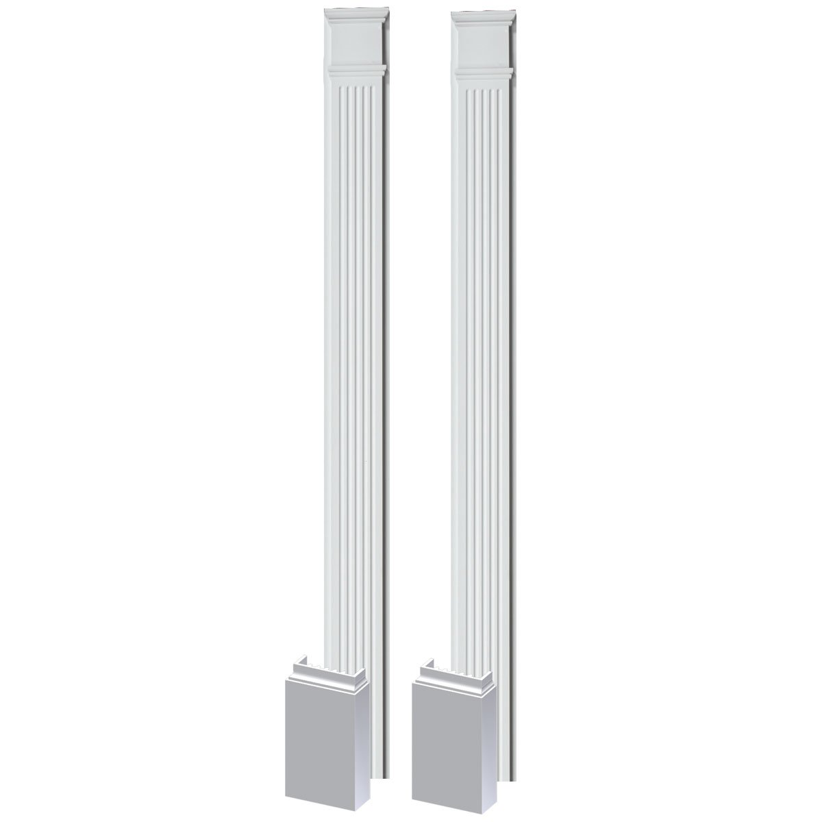 Fypon PIL7X102 7''W x 102''H x 2 1/2''P Fluted Pilaster, Moulded with Plinth Block (Set of 2), 1 Piece