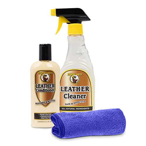 Howard Leather Cleaner and Conditioner Kit. Leather Handbag Cleaner, Leather Furniture Cleaner, Clean Jackets and Shoes, Re hydrate your dull dried out leather (Furniture Leather Cleaning)