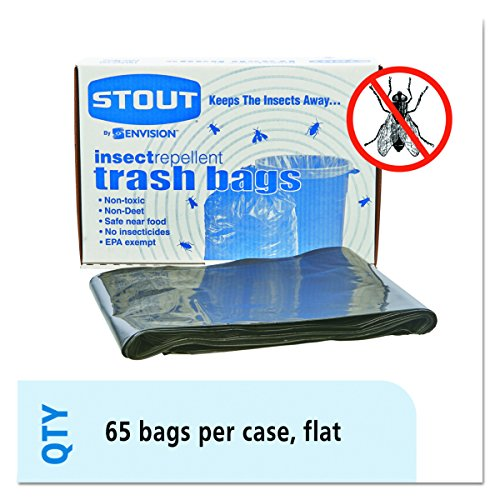 Stout Insect-Repellent Trash, with Pest-Guard, 55 Gallons, 2 Milliliters, 37 x 52, Black, 65/Carton (P3752K20) (Bug Real Insect)