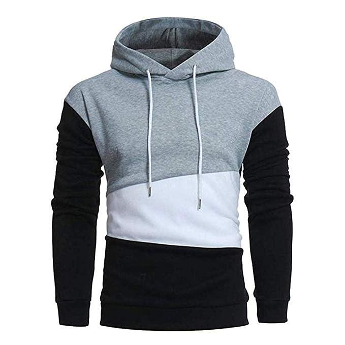 Sudadera para Hombre Cosy Coat Pullover Patchwork Fashion con Capucha Sportwear Chándales Casuales: Amazon.es: Ropa y accesorios