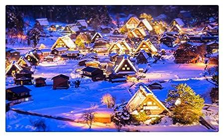 Casas invierno Japón noche nieve calle Village ciudades muebles ...