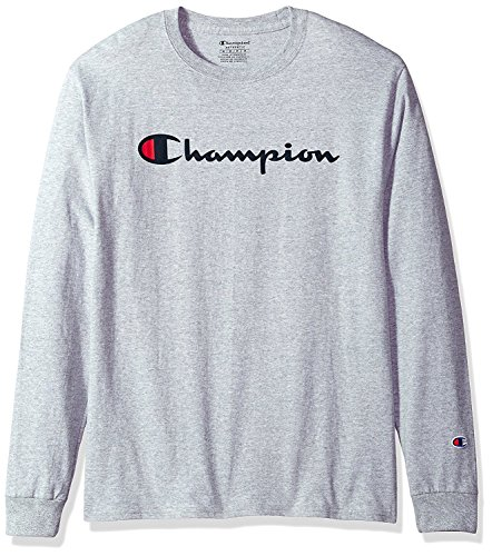 Champion Mens Classic Jersey Long Sleeve Script T-Shirt, Light Steel, Med