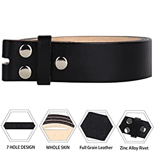 "NPET Men's Genuine Leather Belt Full Grain Snap On Belts 1.5"" Wide (44-46, Black)"