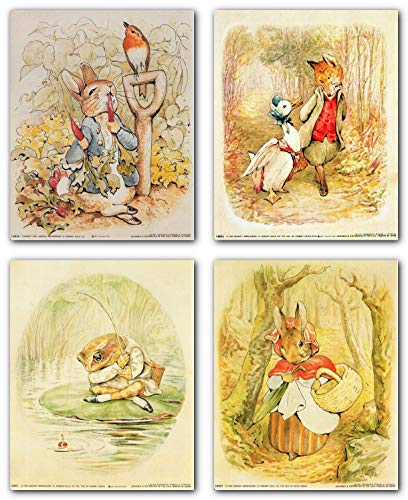 Impact Posters Gallery Wall Decor Art Print The Tale of Peter Rabbit Beatrix Potter The Original and Authorized Edition 8x10 Four Set Kids Room Poster (Gallery Poster Print)
