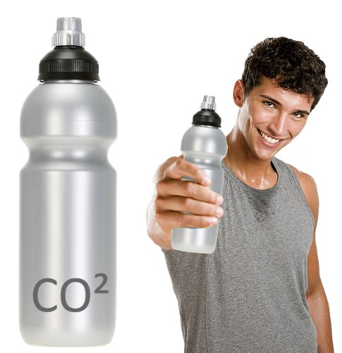 TRINKFLASCHE CO 2 [CO²] PREMIUM kohlensäurefest unkaputtbar 0,6 Liter Flasche Getränkeflasche spülmaschinengeeignet / SILBER