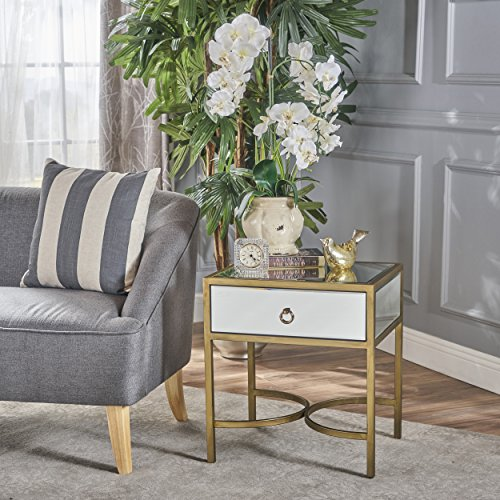 Christopher Knight Home 301979 Siryen Side Table, Clear + Gold ()