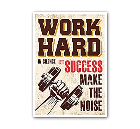 Lab No 4 Work Hard In Silence Gym Motivational Quote Poster In A3