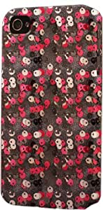 Red Flower Pattern Dimensional Case Fits Apple iPhone 4 or iPhone 4s