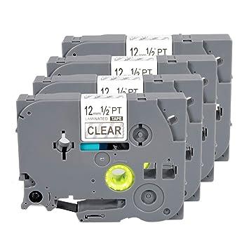 "5  COMPATIBLE 1//2/"" 12MM TZe-131 BLACK CLEAR Label Tape TZe131 TZ131 BROTHER"