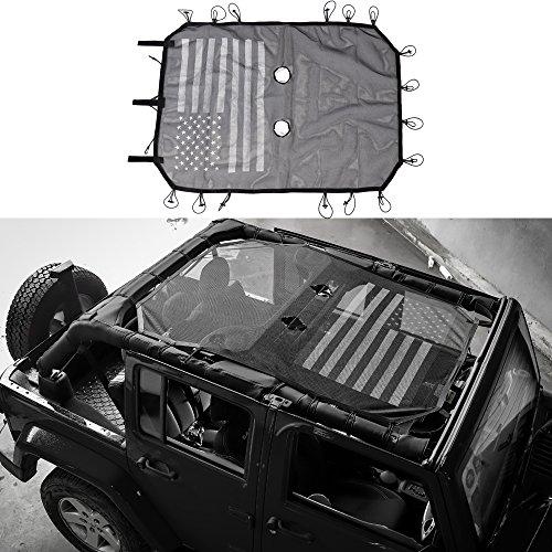 BORUIEN 4-Door Black & White USA Flag Polyester Roof Mesh Bikini Top Cover UV Sun Shade Net For Jeep Wrangler 2007-2016