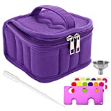 Mavogel Essential Oil Carrying Case with Handle and Two Zippers Holds 16 Bottles(5ml-15ml) for Essential Oil, Essential Oils Opener, Bottle Stickers, Metal Funnel and Dropper Included(Purple)