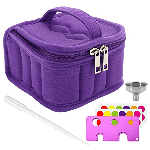 Price comparison product image Mavogel Essential Oil Carrying Case with Handle and Two Zippers Holds 16 Bottles(5ml-15ml) for Essential Oil, Essential Oils Opener, Bottle Stickers, Metal Funnel and Dropper Included(Purple)