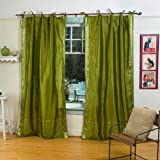 Lined-Olive Green Tie Top Sheer Sari Curtain / Drape – 80W x 96L – Piece For Sale