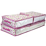 Paylak Set of 3 - Storage Bags Under the Bed See Through Window (Pink Floral)