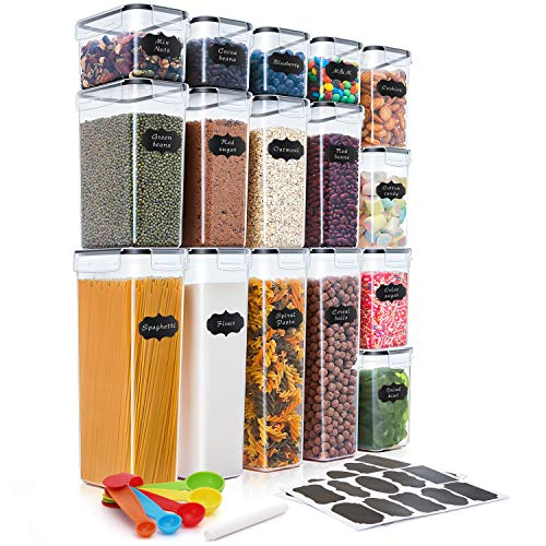 THLEITE Airtight Food Storage Containers Set with Lids – 16pcs – Kitchen & Pantry Organization – BPA-Free – Plastic…