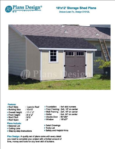 10 X 12 Deluxe Shed Plans Lean To Roof Style Design