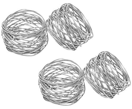 SKAVIJ Metal Mesh Napkin Rings Set for Dining Table Decoration (Dia-2 Inch, Pack of 4, Silver) ()