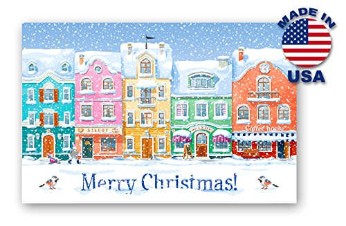 CHRISTMAS OLD TOWN postcard set of 20 identical postcards. Holiday greetings post cards. Made in USA.