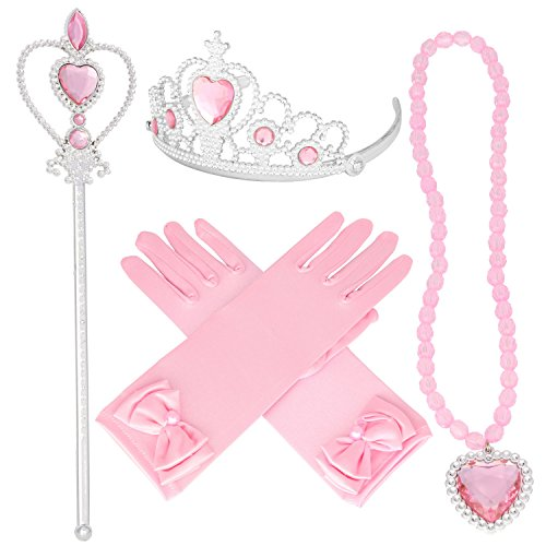 Tiaras and Crowns for Little Girls Princess Wands Gloves Pink Tiara and Necklace set 4 (Pink Princess Wand)