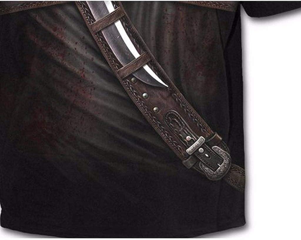 Scollo Rotondo Traspirante vestibilit/à Aderente Polo da Uomo con Stampa Western Cowboy a Maniche Corte Aiserkly Colore: Nero
