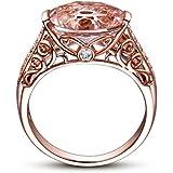 BEUU Gemstone Ring Rose Gold Rings For Women...